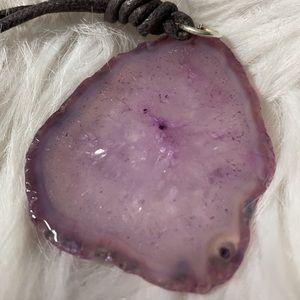 Translucent Purplish Agate Slab Cord Necklace